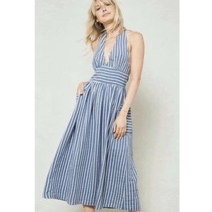 Promesa Blue Stripe Halter Neck Midi Sundress